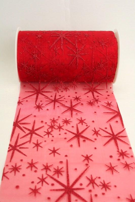 organza tischband mit glitzernden sternen rot 125 mm. Black Bedroom Furniture Sets. Home Design Ideas