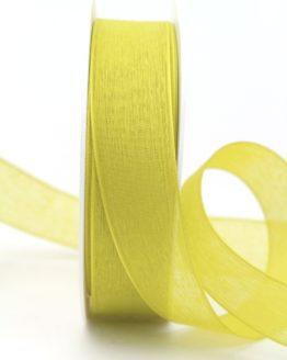 Leinen-Organzaband kiwigrün, 25 mm - uni, organzabander
