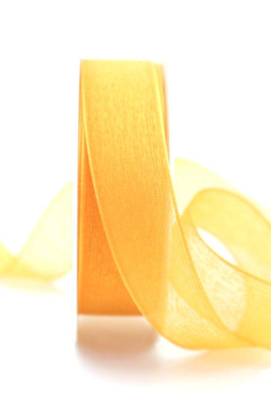 Leinen-Organzaband orange, 25 mm - uni, organzabander