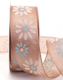 Organzaband mit Blüten, cappuccino, 40 mm mit Drahtkante - sonderangebot, organzabander, organzaband-mit-drahtkante, everyday, 20-rabatt