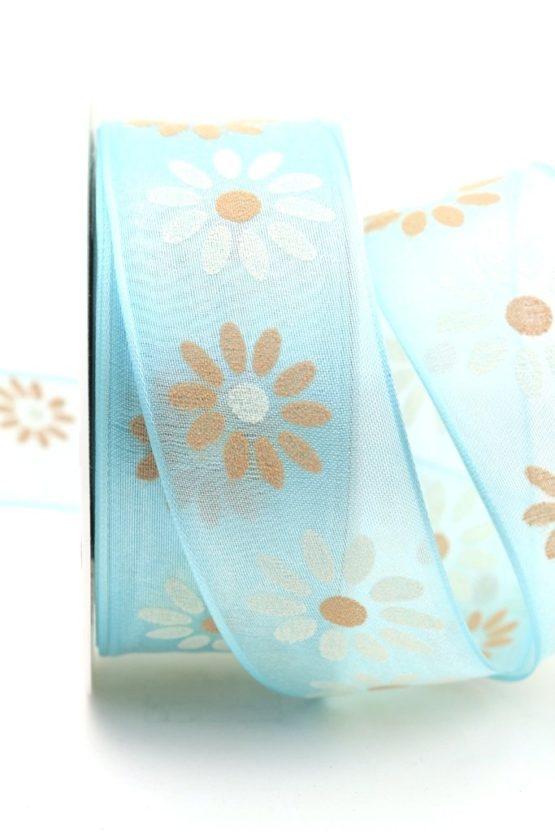 Organzaband mit Blüten, hellblau, 40 mm mit Drahtkante - sonderangebot, organzabander, organzaband-mit-drahtkante, everyday, 20-rabatt