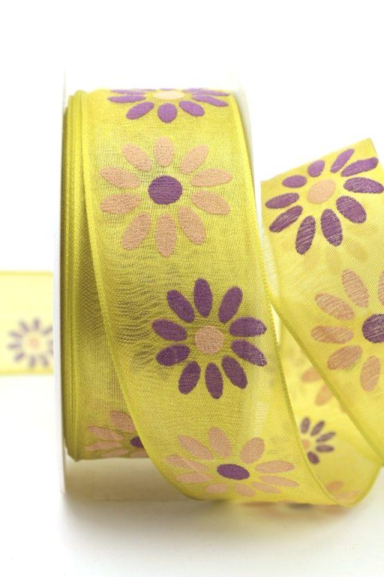 Organzaband mit Blüten, kiwigrün, 40 mm mit Drahtkante - sonderangebot, organzabander, organzaband-mit-drahtkante, everyday, 20-rabatt