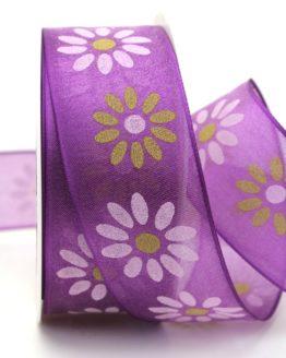 Organzaband mit Blüten, lila, 40 mm mit Drahtkante - sonderangebot, organzabander, organzaband-mit-drahtkante, everyday, 20-rabatt