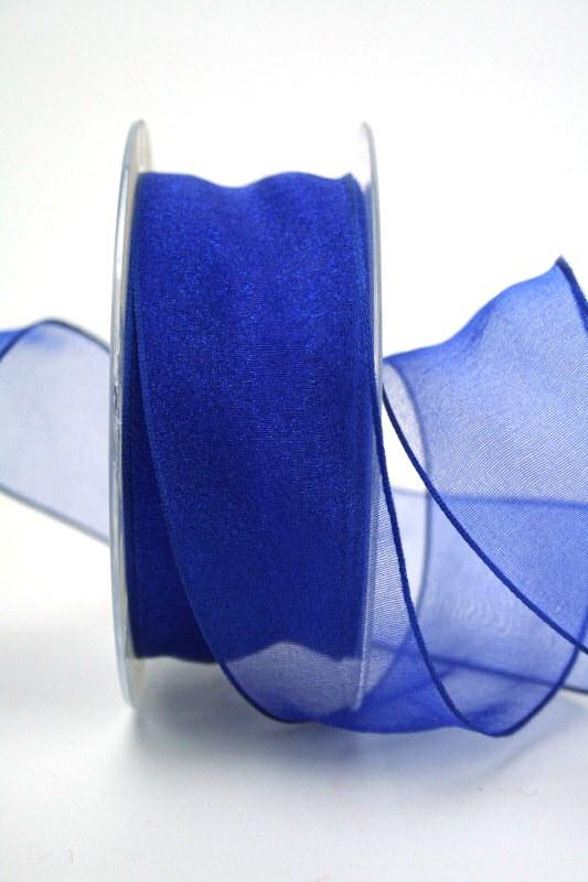 Organzaband dunkelblau, 40 mm, mit Drahtkante - uni, organzabander, organzaband-mit-drahtkante