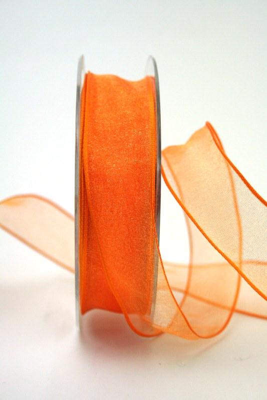 Organzaband orange, 25 mm, mit Drahtkante - uni, organzabander, organzaband-mit-drahtkante