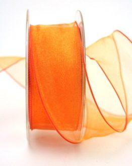 Organzaband orange, 40 mm, mit Drahtkante - uni, sonderangebot, organzabander, organzaband-mit-drahtkante, 50-rabatt