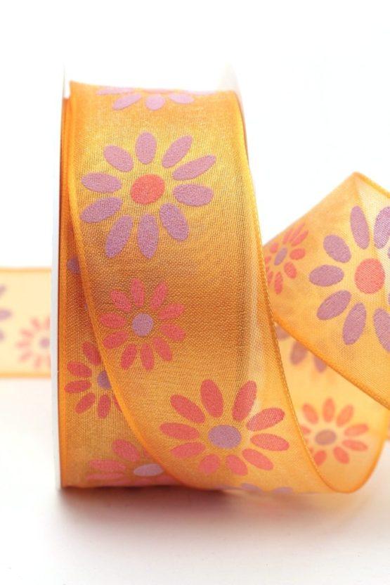 Organzaband mit Blüten, orange, 40 mm mit Drahtkante - sonderangebot, organzabander, organzaband-mit-drahtkante, everyday, 20-rabatt