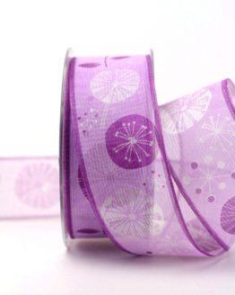 Organzaband lila mit stilisierten Blüten, 40 mm - sonderangebot, organzabander, gemustert, everyday, 20-rabatt