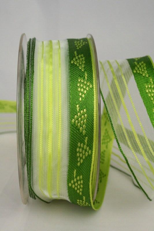 Transparentes Geschenkband mit Weinreben, grün, 40 mm - sonderangebot, organzabander, gemustert, everyday, 30-rabatt