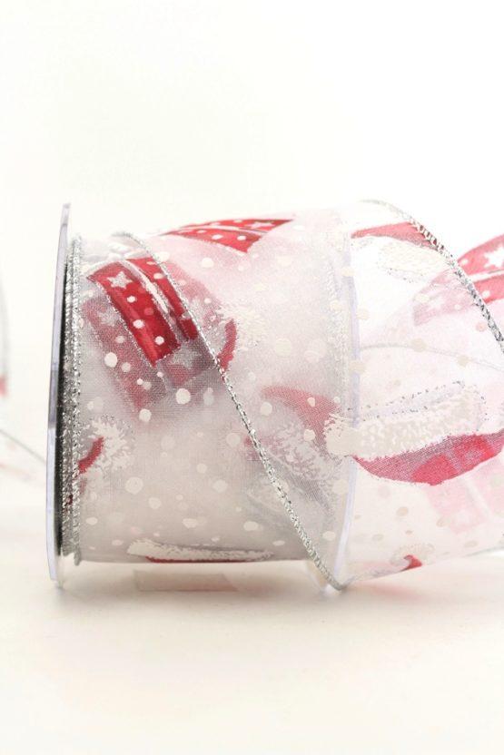 Chiffonband Santa's Mütze, weiß, 60 mm mit Drahtkante - weihnachten, organzabander, organzaband-mit-drahtkante, gemustert