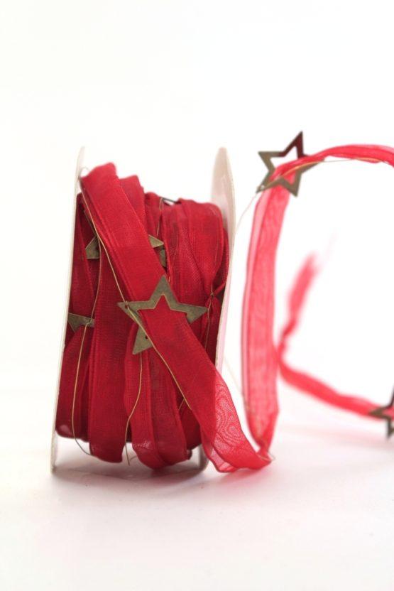 Organzaband mit Metall-Sternen, rot - weihnachten, sonderangebot, organzabander, 20-rabatt