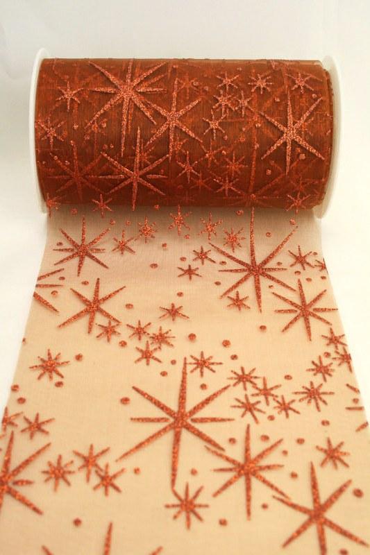 Organza-Tischband mit glitzernden Sternen, kupfer, 125 mm breit - weihnachten, organzabander
