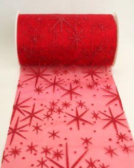 Organza-Tischband mit glitzernden Sternen, rot, 125 mm breit - weihnachten, organzabander