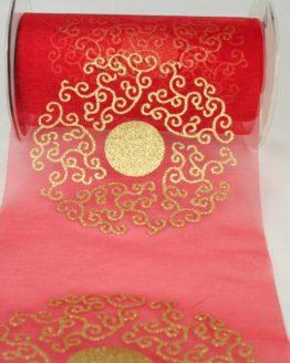Organza-Tischband mit goldenem Ornament, rot, 150 mm - weihnachten, organzabander