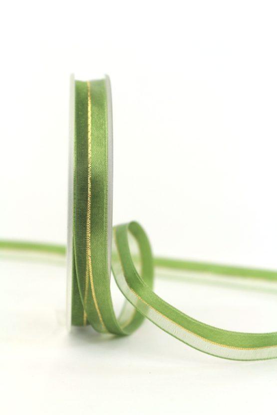 Organzaband m. Satinstreifen apfelgrün , 10 mm - weihnachten, uni, organzabander