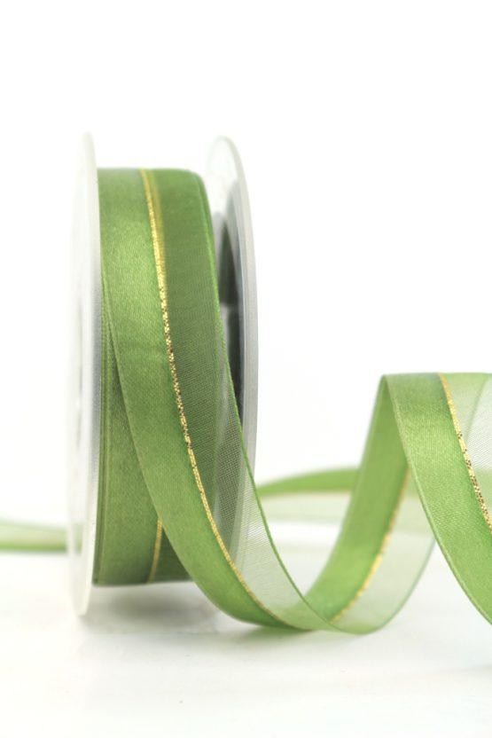 Organzaband m. Satinstreifen apfelgrün, 25 mm - weihnachten, uni, organzabander