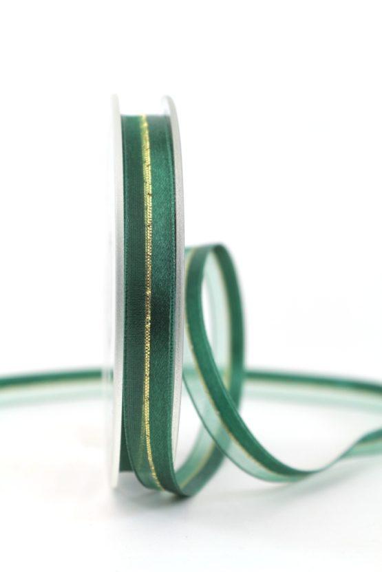 Organzaband m. Satinstreifen dunkelgrün , 10 mm - weihnachten, uni, organzabander