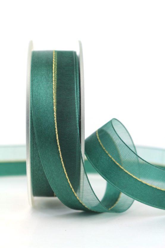 Organzaband m. Satinstreifen dunkelgrün, 25 mm - weihnachten, uni, organzabander