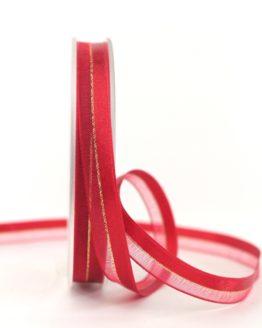 Organzaband m. Satinstreifen rot , 10 mm - weihnachten, uni, organzabander