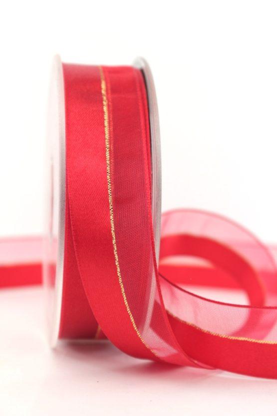 Organzaband m. Satinstreifen rot, 25 mm - weihnachten, uni, organzabander