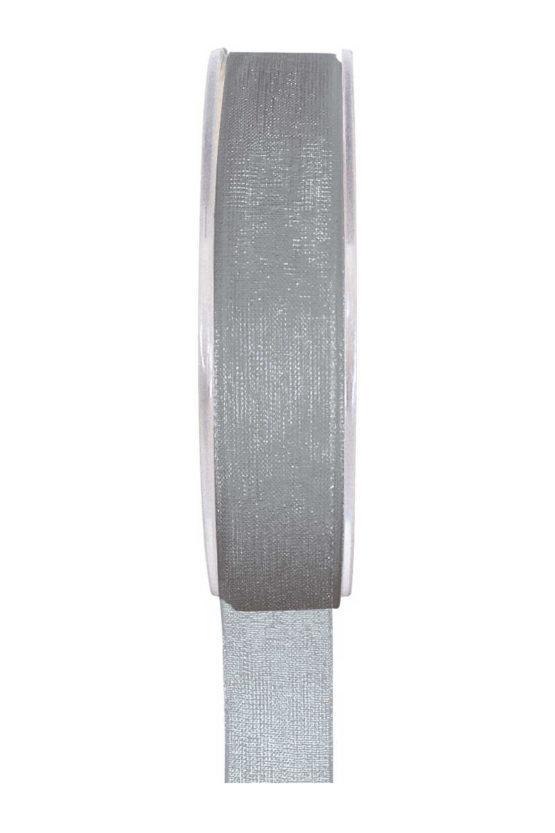 Organzaband BUDGET grau, 7 mm x 20 m Rolle - uni, organzabander, budget