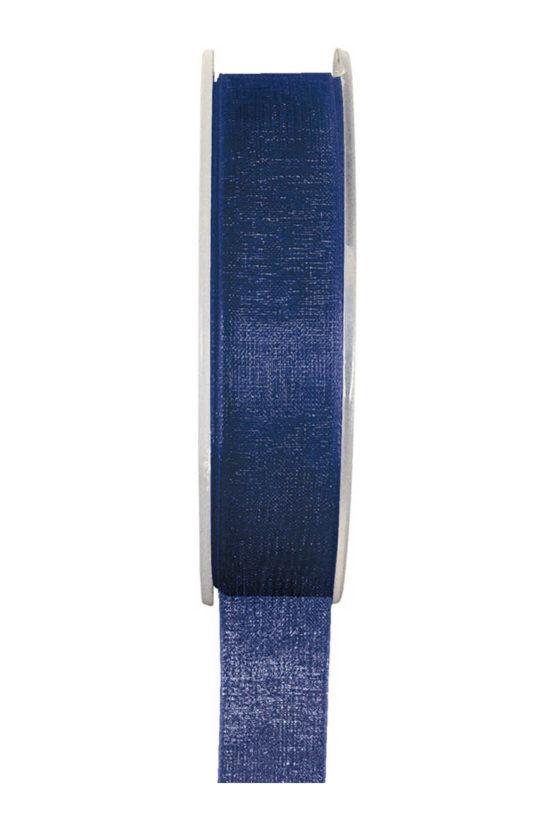 Organzaband BUDGET marineblau, 7 mm x 20 m Rolle - uni, organzabander, budget