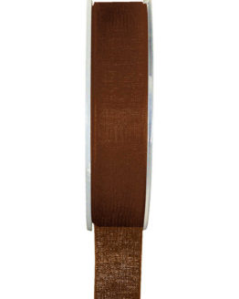 Organzaband BUDGET braun, 7 mm x 20 m Rolle - uni, organzabander, budget