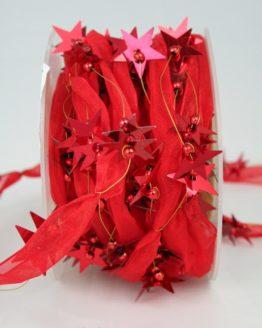 Organzaband-Girlande mit Sternen, rot - weihnachten, sonderangebot, organzabander, 30-rabatt