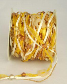 Organzaband-Girlande mit Acryl-Blüten, gelb-braun - sonderangebot, organzabander, everyday
