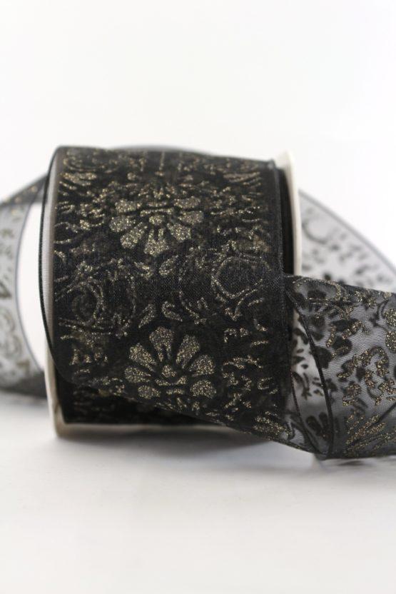 Organzaband Glitzer-Ornament, schwarz, 70 mm mit Drahtkante - weihnachten, sonderangebot, organzabander, 30-rabatt