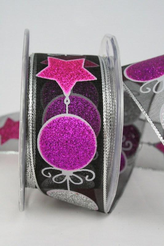 Organzaband mit glitzernden Kugeln und Sternen, schwarz-pink-silber, 40 mm - weihnachten, organzabander