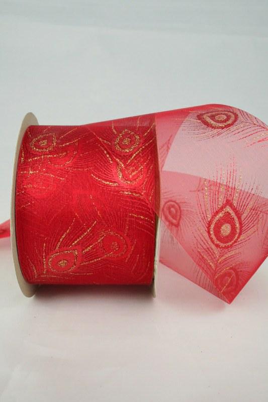 Breites Organzaband mit goldener Pfauenfeder, rot, 60 mm - weihnachten, organzabander