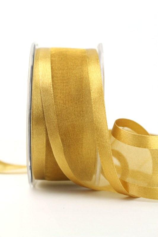 Organzaband mit Satinrand beige, 40 mm - uni, organzabander