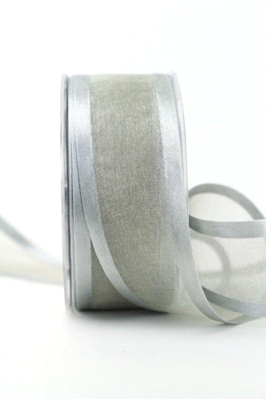 Organzaband mit Satinrand grau, 40 mm - uni, organzabander