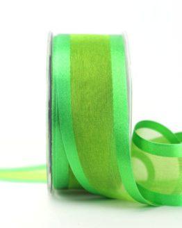 Organzaband mit Satinrand grün, 40 mm - uni, organzabander