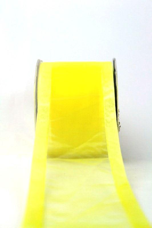Organzaband mit Satinrand hellgelb, 70 mm - uni, organzabander