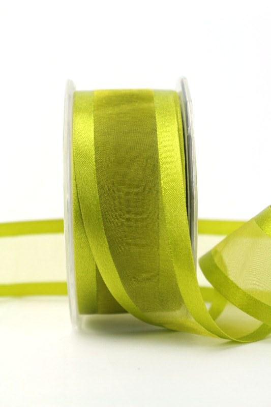 Organzaband mit Satinrand olivgrün, 40 mm - uni, organzabander