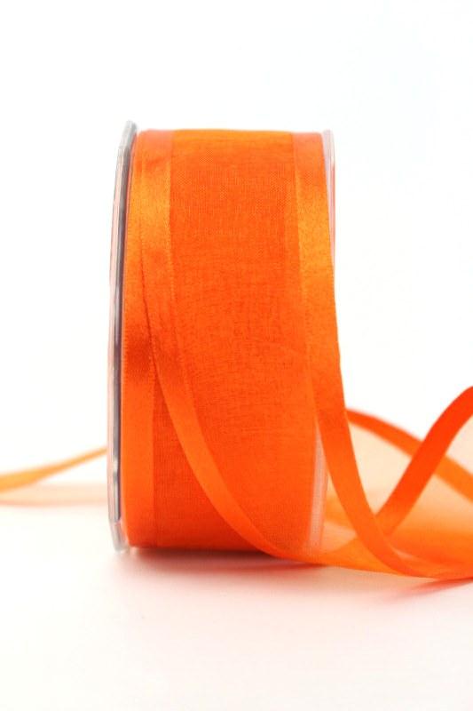 Organzaband mit Satinrand orange, 40 mm - uni, organzabander