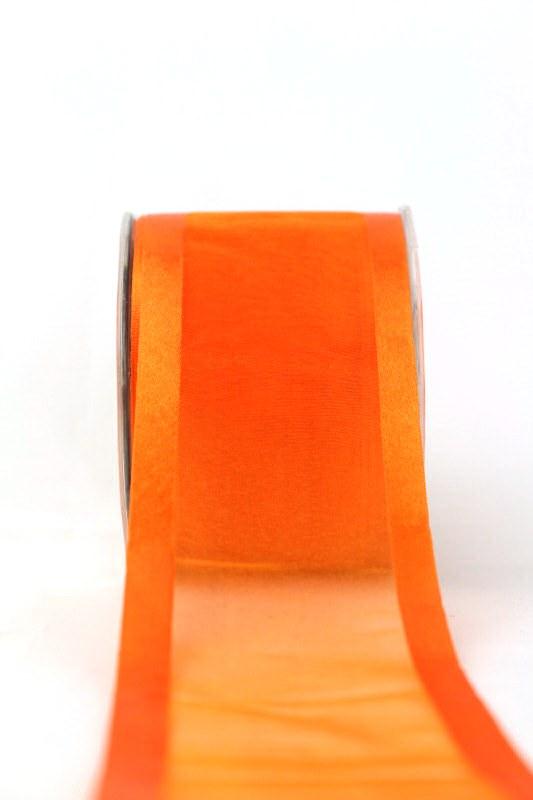 Organzaband mit Satinrand orange, 70 mm - uni, organzabander