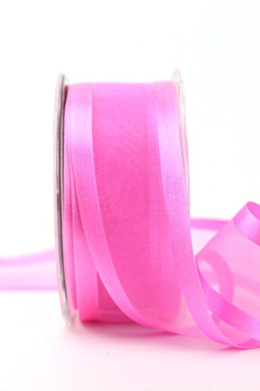 Organzaband mit Satinrand rosa, 40 mm - uni, organzabander