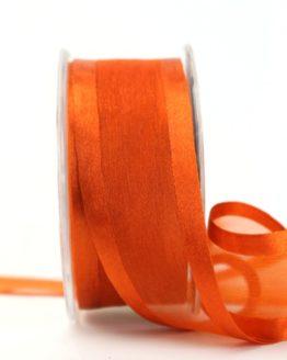 Organzaband mit Satinrand rost, 40 mm - uni, organzabander