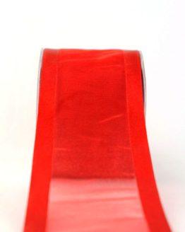 Organzaband mit Satinrand rot, 70 mm - uni, organzabander