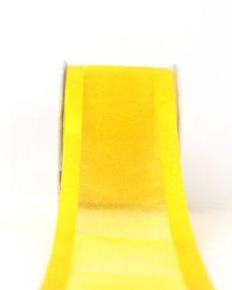 Organzaband mit Satinrand sonnengelb, 70 mm - uni, organzabander