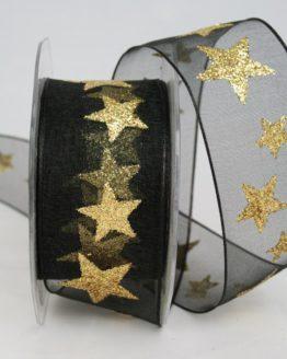 Organzaband mit goldenen Sternen, schwarz, 40 mm - weihnachten, organzabander