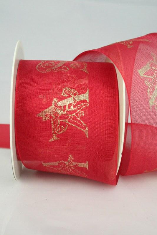 Breites Organzaband mit filigranem Xmas-Druck, rot-gold, 70 mm - weihnachten, sonderangebot, organzabander, 30-rabatt