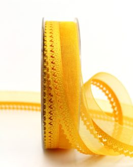 Organzaband gelb, 25 mm, mit Designkante - organzabander, everyday