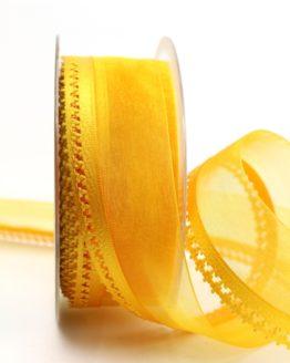Organzaband gelb, 40 mm, mit Designkante - organzabander, everyday