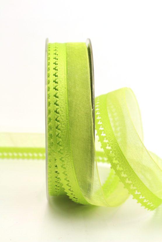 Organzaband hellgrün, 25 mm, mit Designkante - organzabander, everyday