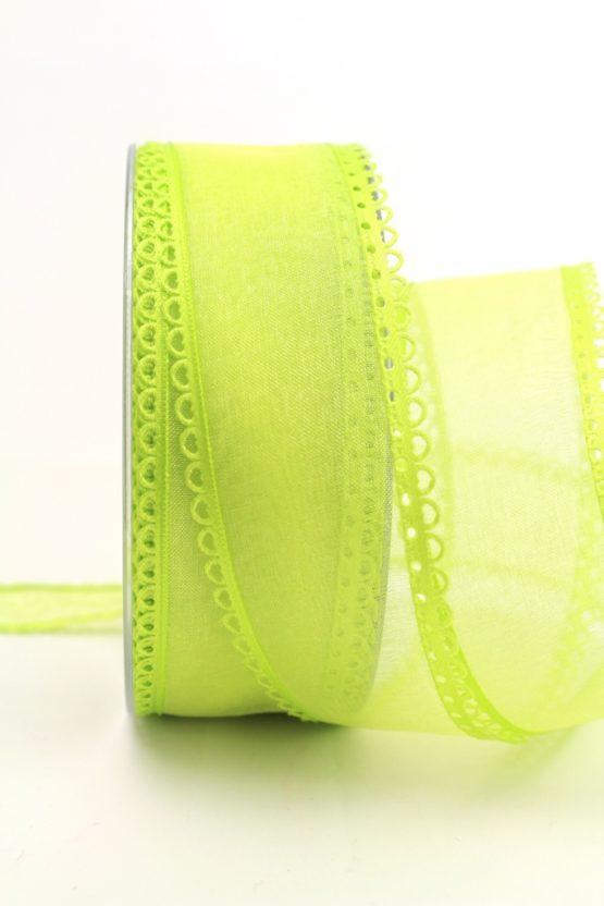 Organzaband hellgrün, 40 mm, mit Schlaufenkante - organzabander, everyday