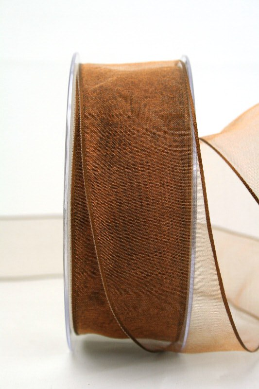 Organzaband braun, 40 mm, mit Drahtkante - uni, organzabander, organzaband-mit-drahtkante